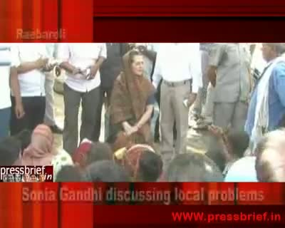 18 May 2010 Sonia Gandhi discussing local problems Raebareli