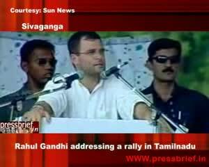Congress General Secretary Rahul Gandhi addressing a rally in Tamilnadu 8th May 2009