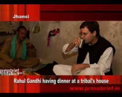 Rahul Gandhi having dinner at a tribal's house,10th October 2011