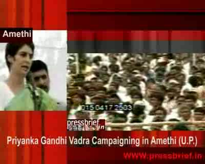 Priyanka gandhi vadra campaigning in amethi (u.p.) 04th april 2009