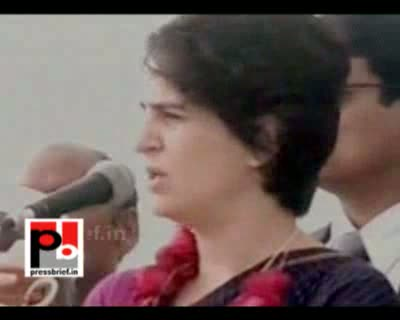 Priyanka Gandhi Vadra is addressing an election meeting at Bachhrawa in Raebareli UP as part of her Congress campaign in Uttar Pradesh on Monday. She requested people to support Congress and elect the Congress candidates for strengthening the hands of Con