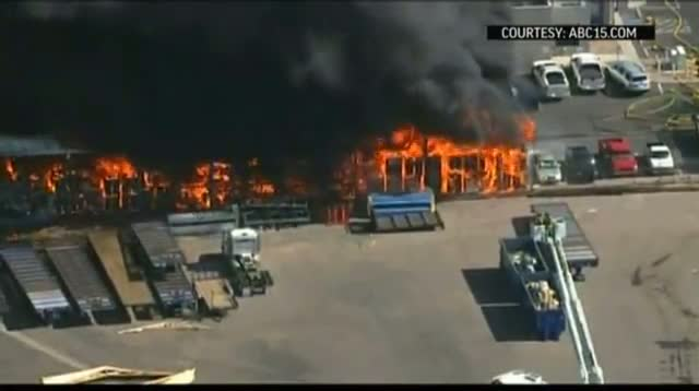 Raw Video - Warehouse Fire in Suburban Phoenix