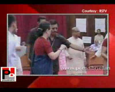 Congress President Sonia Gandhi and Congress General Secretary Rahul Gandhi cast their votes for the Vice President election