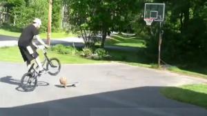BMX Skateboard Basketball Trick Shot