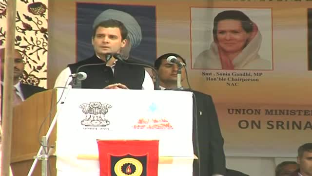 Rahul Gandhi lays foundation of Srinagar Leh tunnel
