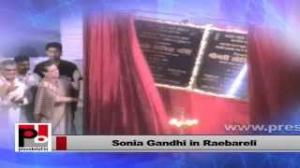 Sonia Gandhi inaugurating development schemes in Rae Bareli