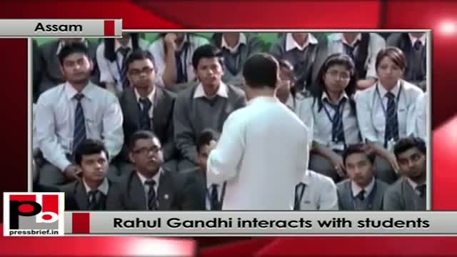 Rahul Gandhi interacts with students in Assam