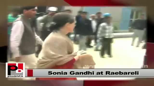 Sonia Gandhi in Raebareli meets local people, review development works