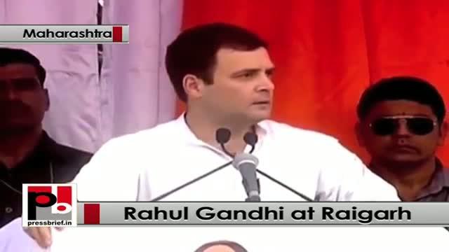 At Raigarh, Maharashtra, Rahul Gandhi targets BJP, Modi govt