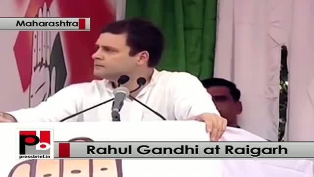 Rahul Gandhi takes on BJP and Modi govt at Raigarh, Maharashtra