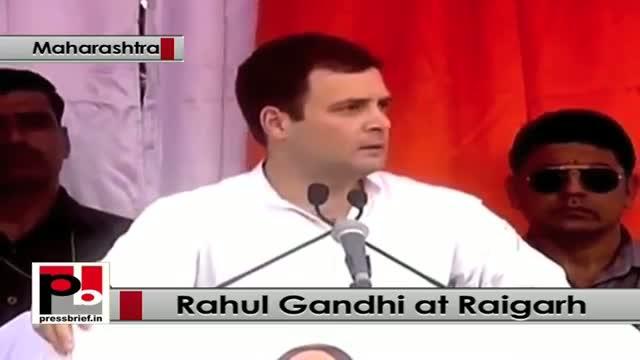 Rahul Gandhi takes on BJP, Modi while addressing a Congress rally at Raigarh, Maharashtra