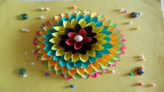 Wall Decoration Ideas: How to Make Paper Flower Craft for Wall Decor (Happy Diwali)