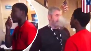 Worst student ever? Cocky teen blows cigar smoke in his teacher's face: video