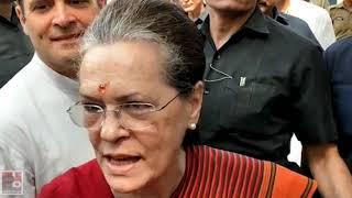 UPA Chairperson Sonia Gandhi addresses the media at Raebareli