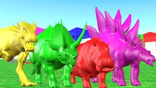 Learn Colors And Learn Animals with Dinosaur Travelling In Car And Playing In water - For Kids.