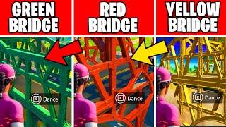 Dance at the Green Steel Bridge, the Yellow Steel Bridge, and the Red Steel Bridge Location Fortnite