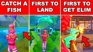 Be First to Catch a Fish, First to Land from the Battlebus or First to get an Elimination Fortnite