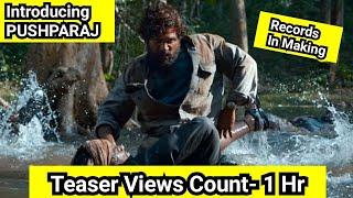 Introducing PushpaRaj Teaser Record Breaking Views In 1 Hour, Views Got Stuck