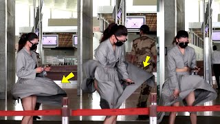 Urvashi rautela embarrassing moment at mumbai airport. faced sudden wind OOPS moment