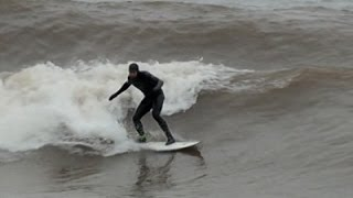 Raw- Surfing on Lake Superior News Video