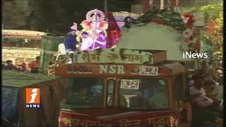Ganesh Sobha Yatra Rally Towards Ganesh Nimajjanam At Telugu Talli Flyover | Hyderabad | iNews