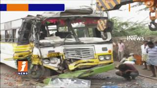 Road Mishap In Nellore | Lorry Hits RTC Bus | 12 injured | iNews