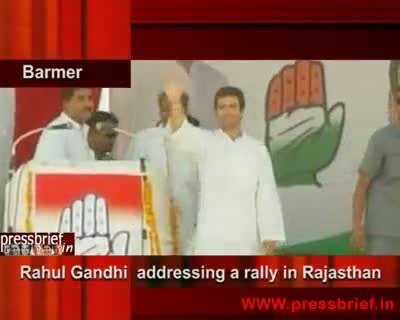 Rahul Gandhi addressing a rally in Barmer(Rajasthan),3rd may 2009
