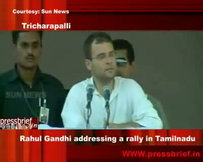 Congress General Secretary Rahul Gandhi addressing a rally in Tamilnadu Tricharapalli8th may 2009
