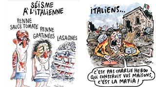 Charlie Hebdo latest issue depicts victims of Italy earthquake as pasta dishes
