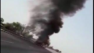 खाटूश्याम जा रही श्रद्धालुओं से भरी वॉल्वो बस में लगी आग