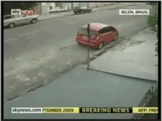 Car hit a woman threw her 20 meters distance