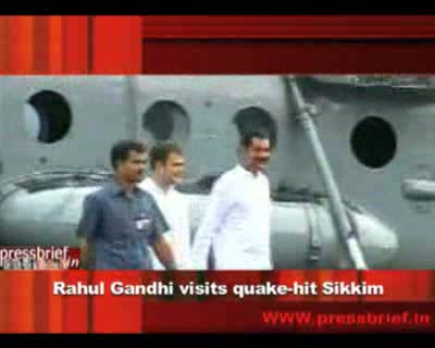Rahul Gandhi visits quake-hit Sikkim, 21st September 2011