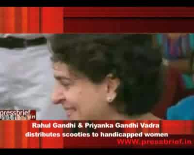 Rahul Gandhi and Priyanka Gandhi Vadra distributed three-wheelers,  28th September 2011