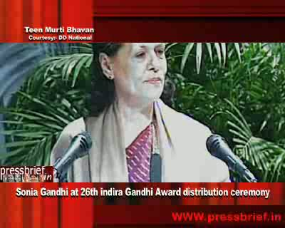 Congress President and UPA chairperson Sonia Gandhi today presented the 26th Indira Gandhi Award for National Integration