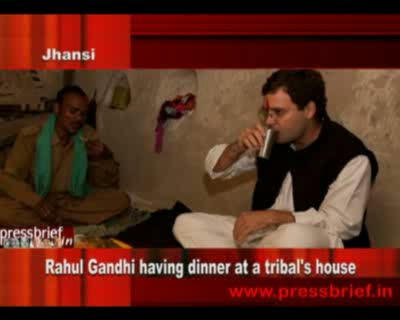 Rahul Gandhi having dinner at a tribal's house,10th October 2011