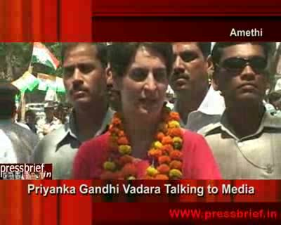 Priyanka Gandhi Vadra talking to media in Amethi (UP),12th April 2009