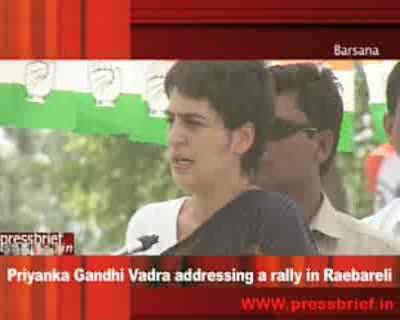 Priyanka Gandhi Vadra addressing a rally in Barsana_raebareli_24_April 2009