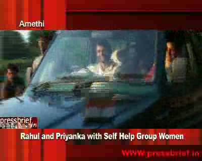Rahul Gandhi and Priyanka Gandhi Vadra with Woman's S.H.G 21st Nov. 2009