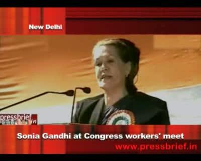 Congress President Sonia Gandhi addresses Congress workers in New Delhi 16th December 2011