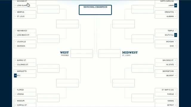 """NCAA 2012 Bracket Fill In"" March Madness Tournament Bracket"