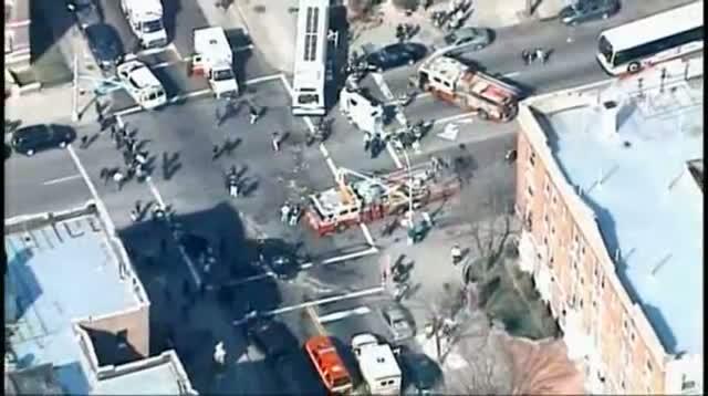 Raw Video - Bus, Truck Collide in Brooklyn video