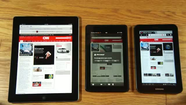 iPad 2 vs Amazon Kindle Fire vs Samsung Galaxy Tab 7 Plus browser performance