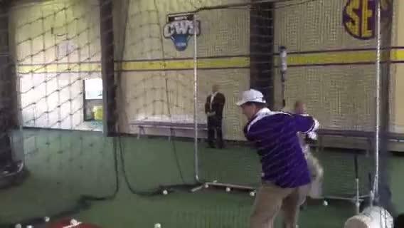 Rick Santorum takes batting practice