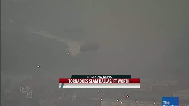 Dallas Tornado Throwing Semi Trucks April 3rd 2012 RAW video.