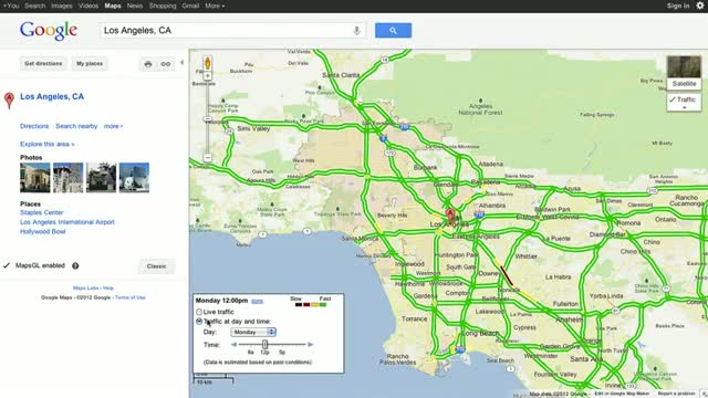 Live and Typical Traffic in Google Maps