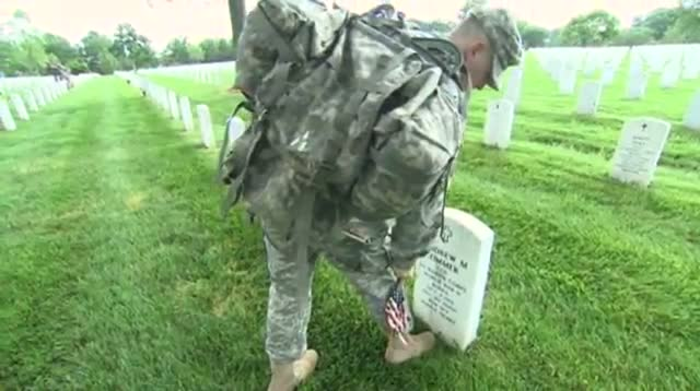 Raw Video - Soldiers Plant Flags at Arlington