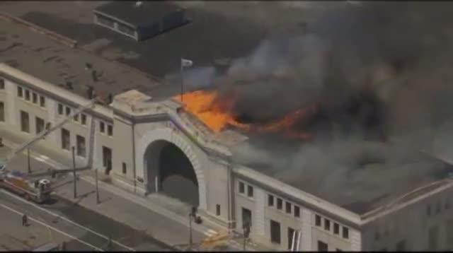 Raw Video - Four-alarm Pier Fire in San Francisco