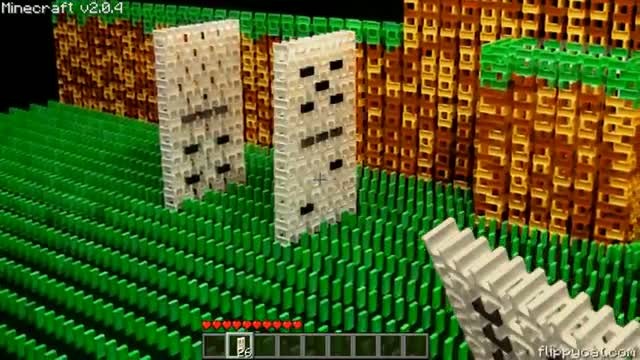 Real Life Minecraft Made From Dominoes