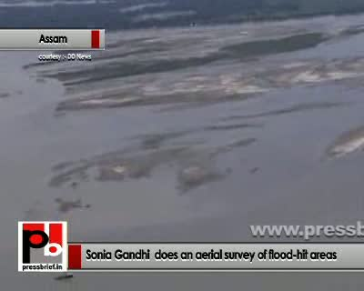 Sonia Gandhi visits flood-hit areas in Assam 2nd,July,2012