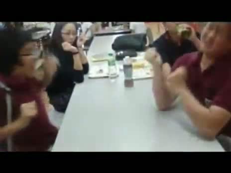Arm wrestling prank